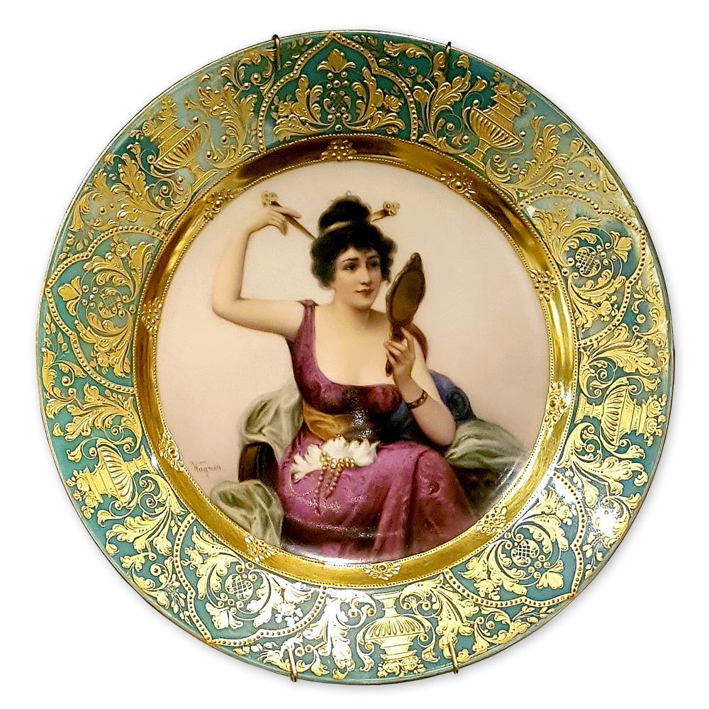 """Фарфоровая тарелка """"Дама с зеркалом"""""""